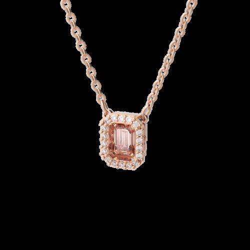 Millenia necklace, Octagon cut Swarovski zirconia, Pink, Rose gold tone plated