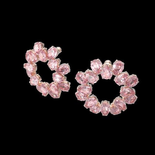 Millenia hoop earrings, Pear cut crystals, Pink, Rose gold-tone plated
