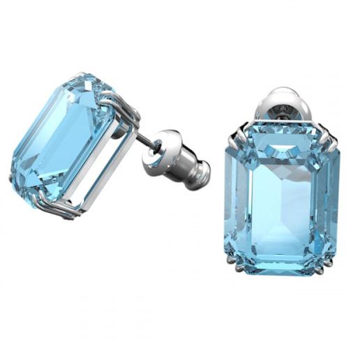 Millenia stud earrings, Octagon cut crystals, Blue