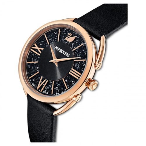 Crystalline Glam watch Leather strap, Black, Rose-gold tone PVD