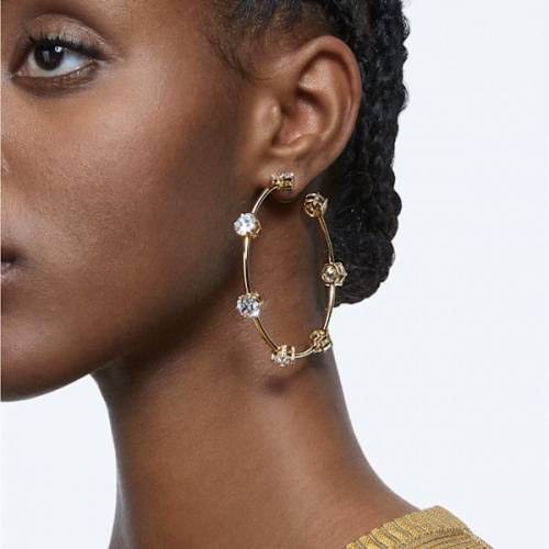 Constella hoop earrings White, Shiny gold-tone plated