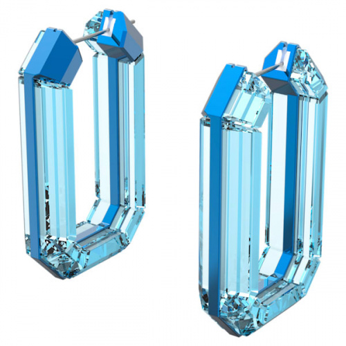 Lucent hoop earrings Blue, Rhodium plated