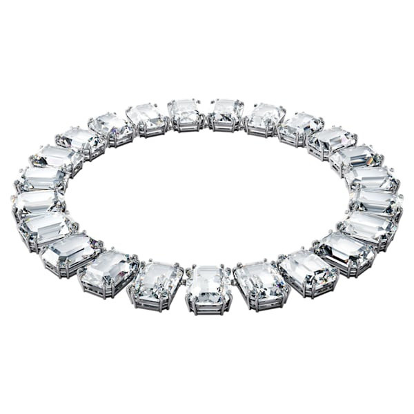 Millenia necklace Octagon cut crystals, White, Rhodium plated