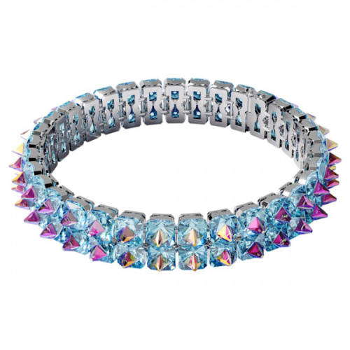Chroma choker Spike crystals, Blue, Rhodium plated