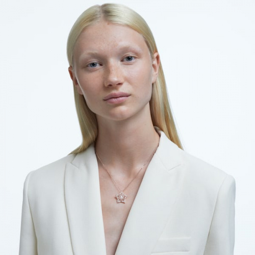 Stella pendant White, Rose gold-tone plated