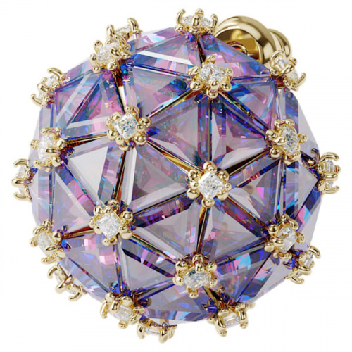 Curiosa stud earring, Single, Round, Blue, Gold-tone plated