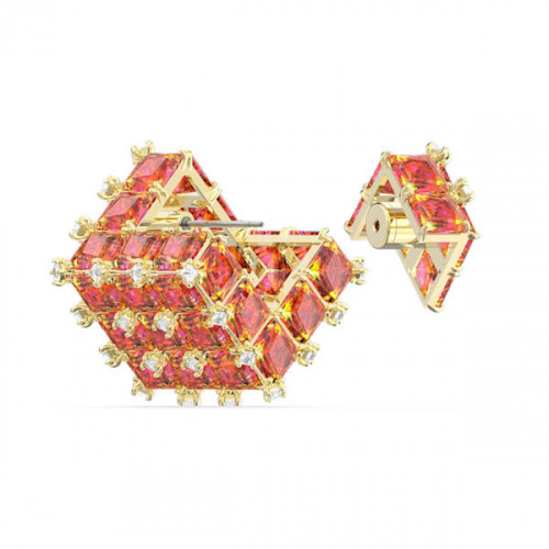 Curiosa stud earring, Single, Square, Orange, Gold-tone plated