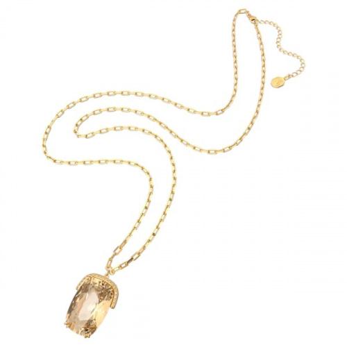 Harmonia pendant, Oversized crystals, Yellow, Gold-tone plated