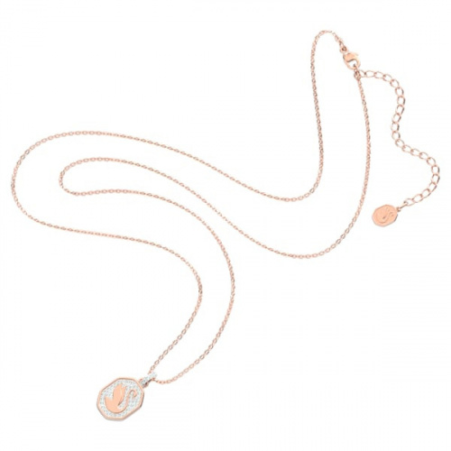 Signum pendant, Swan, White, Rose-gold tone plated