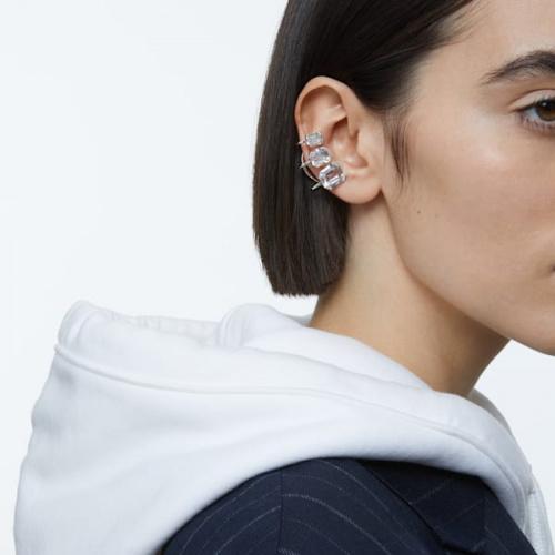 Millenia ear cuff, Single, Graduated crystals, White