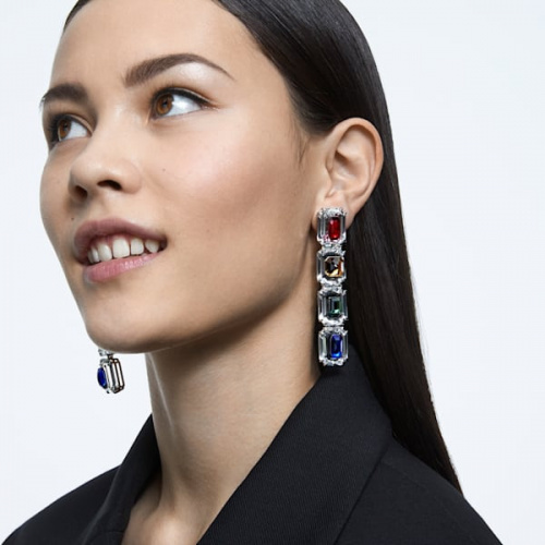 Chroma clip earrings, Oversized crystals