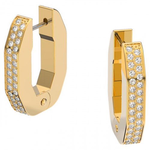 Dextera hoop earrings, Octagonal, White, Gold-tone plated