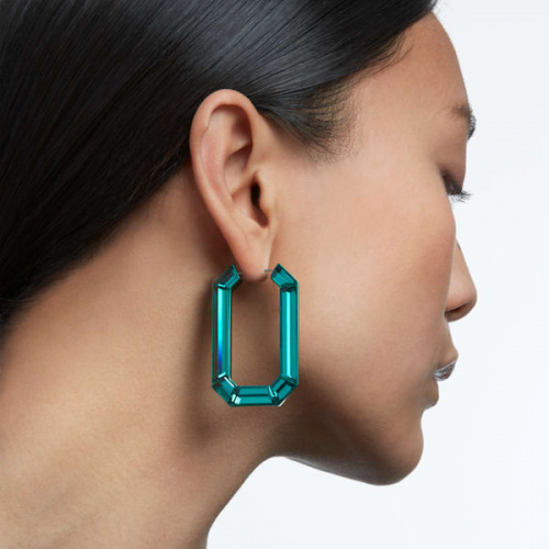 Lucent hoop earrings, Green, Rhodium plated