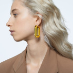Lucent hoop earrings, Yellow, Rhodium plated