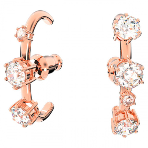 Constella hoop earrings, White, Rose gold-tone plated