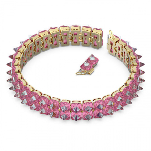 Chroma choker, Spike crystals, Pink, Gold-tone plated