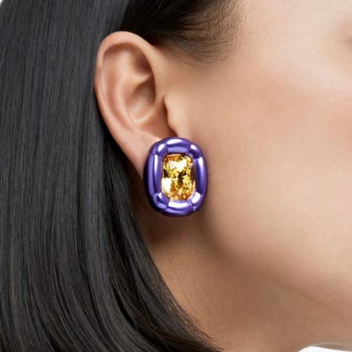 Dulcis clip earrings, Cushion cut crystals, Purple