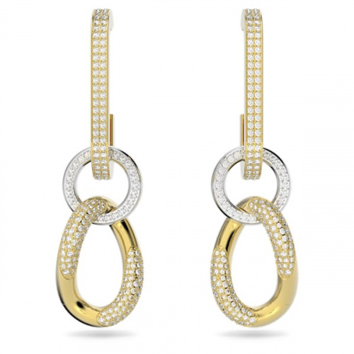Dextera earrings, White, Gold-tone plated