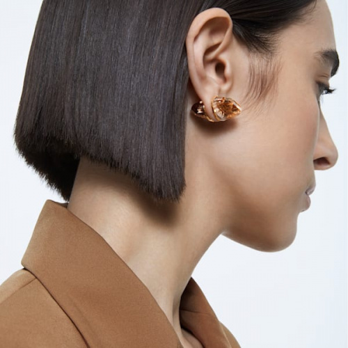 Lucent stud earring, Single, Pink, Rose-gold tone plated