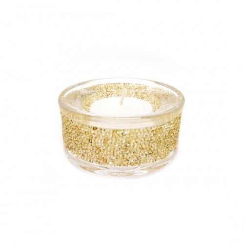 SHIMMER TEA LIGHT HOLDER, GOLD TONE