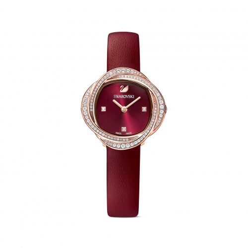 Crystal Flower Watch, Leather strap, Red, Rose-gold tone PVD