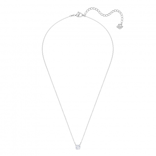 Attract Round Necklace, White, Rhodium plated