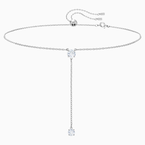 Attract Y Necklace, White, Rhodium plated