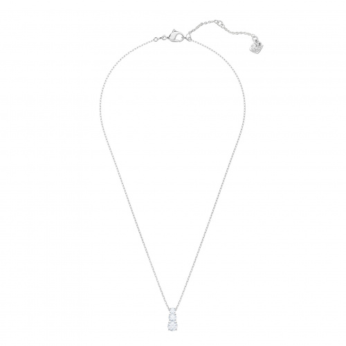 Attract Trilogy Round Pendant, White, Rhodium plated