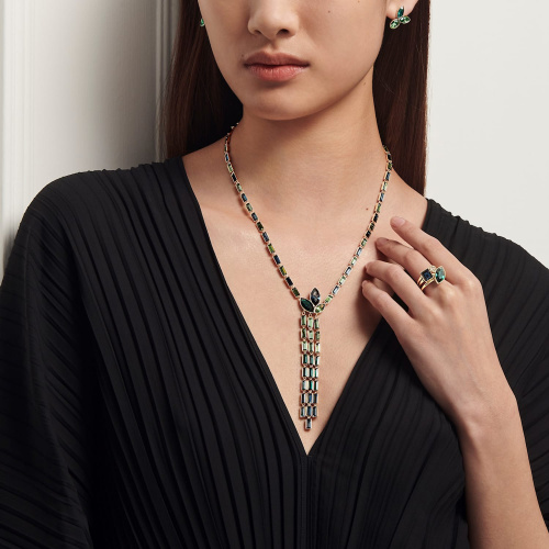 Beautiful Earth by Susan Rockefeller Y Necklace, Dark multi-colored, Gold-tone plated