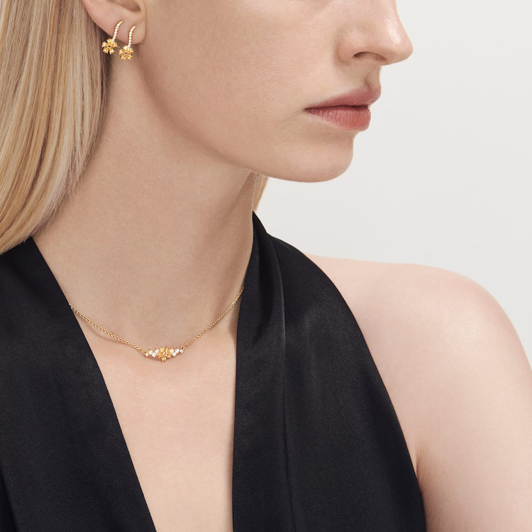 Botanical Necklace, Yellow, Gold-tone plated