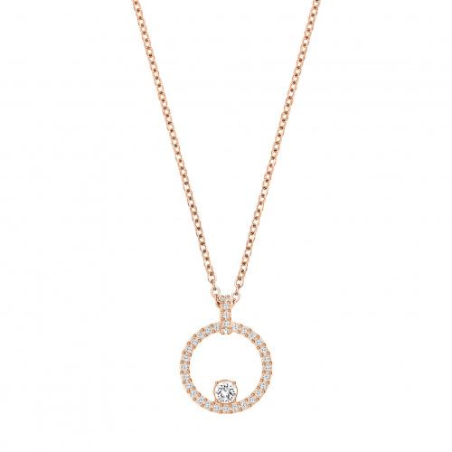 Creativity Circle Pendant, White, Rose-gold tone plated