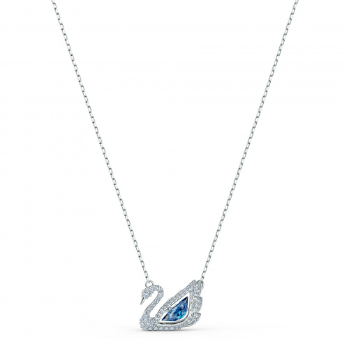 Dancing Swan Necklace, Blue, Rhodium plated
