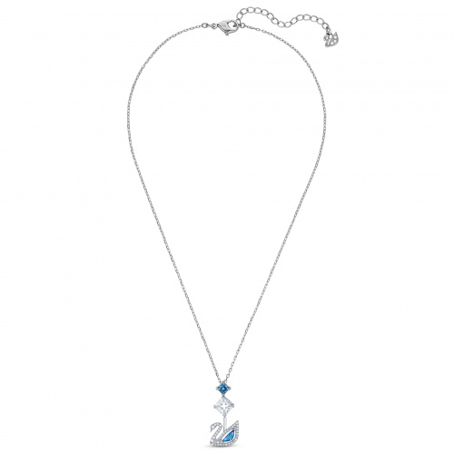 Dazzling Swan Necklace, Blue, Rhodium plated
