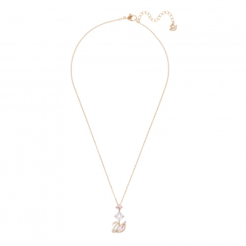 Dazzling Swan Y Necklace, Multi-colored, Rose-gold tone plated