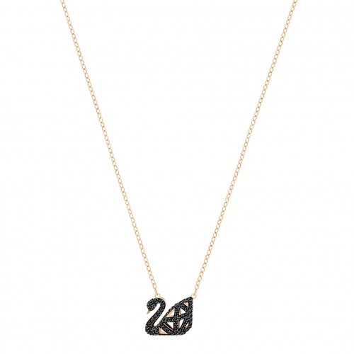 Facet Swan Necklace, Black, Mixed metal finish