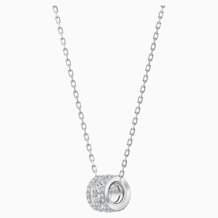 Further Pendant, White, Rhodium plated