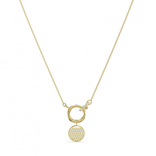 Ginger Charm Necklace, White, Gold-tone plated