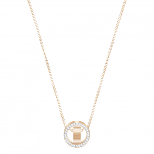 Hollow Pendant, White, Rose-gold tone plated