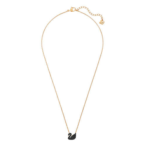 Swarovski Iconic Swan Pendant, Black, Rose-gold tone plated