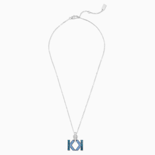 Karl Lagerfeld Logo Necklace, Blue, Palladium plated
