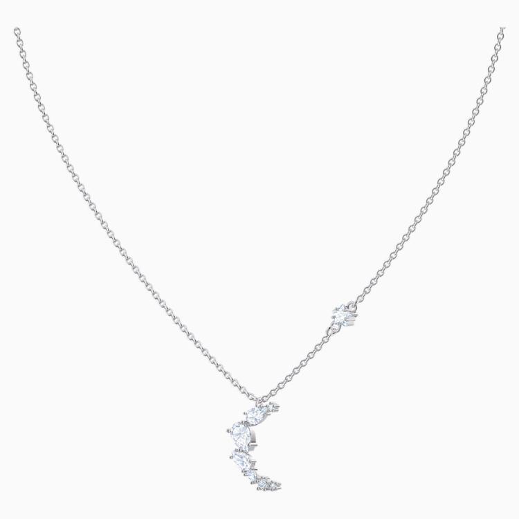 Penélope Cruz Moonsun Necklace, White, Rhodium plated