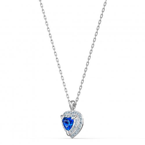 One Pendant, Blue, Rhodium plated