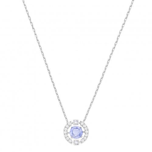 Swarovski Sparkling Dance Round Necklace, Blue, Rhodium plated