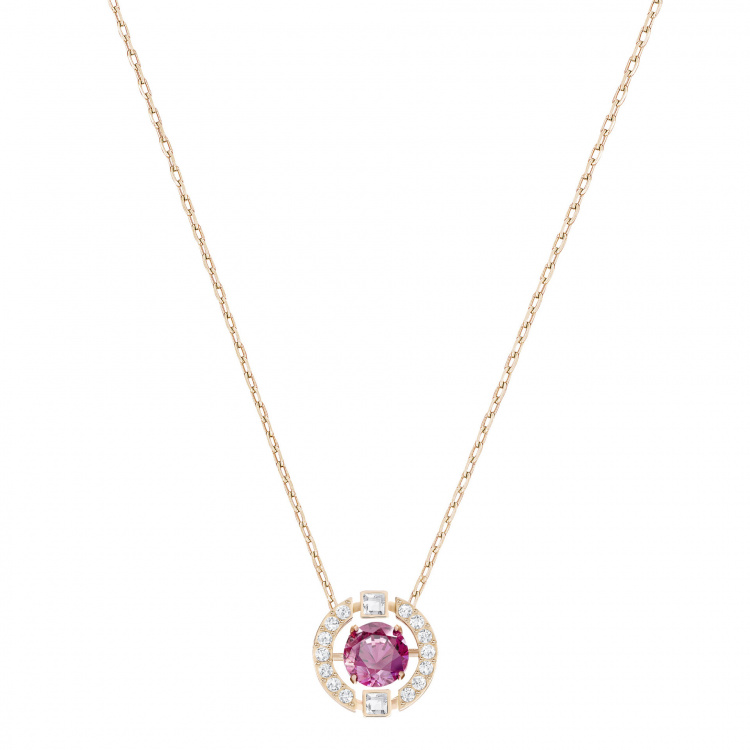 Swarovski Sparkling Dance Round Necklace, Red, Rose-gold tone plated