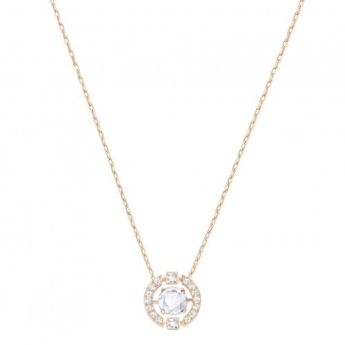 Swarovski Sparkling Dance Round Necklace, White, Rose-gold tone plated