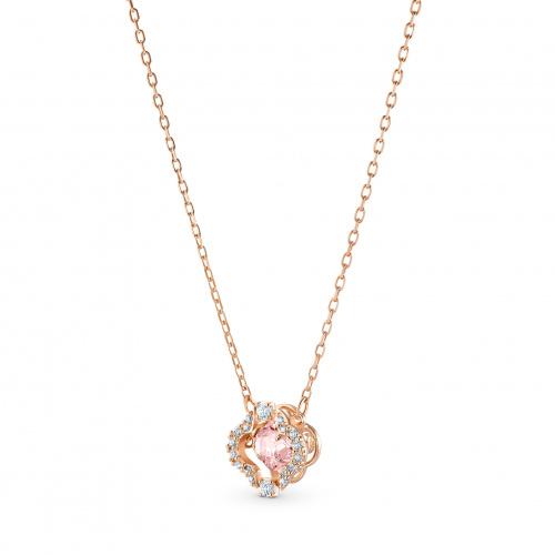 Swarovski Sparkling Dance Clover Necklace, Pink, Rose-gold tone plated