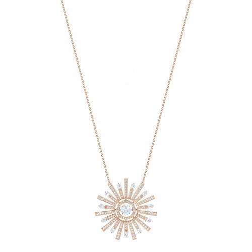 Sunshine Necklace, White, Rose-gold tone plated