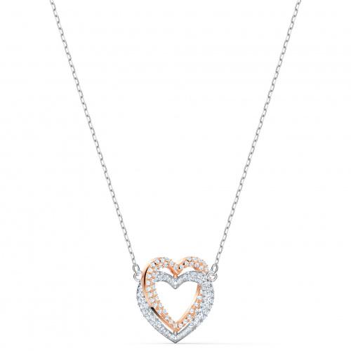 Swarovski Infinity Double Heart Necklace, White, Mixed metal finish