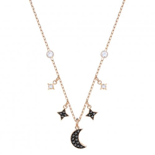 Swarovski Symbolic Moon Necklace, Black, Rose-gold tone plated