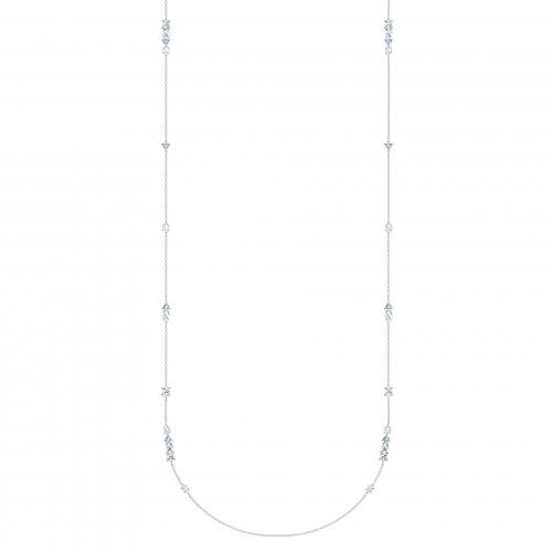 Tennis Deluxe Mixed Strandage, White, Rhodium plated